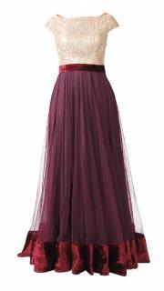 Wine and Beige Gown
