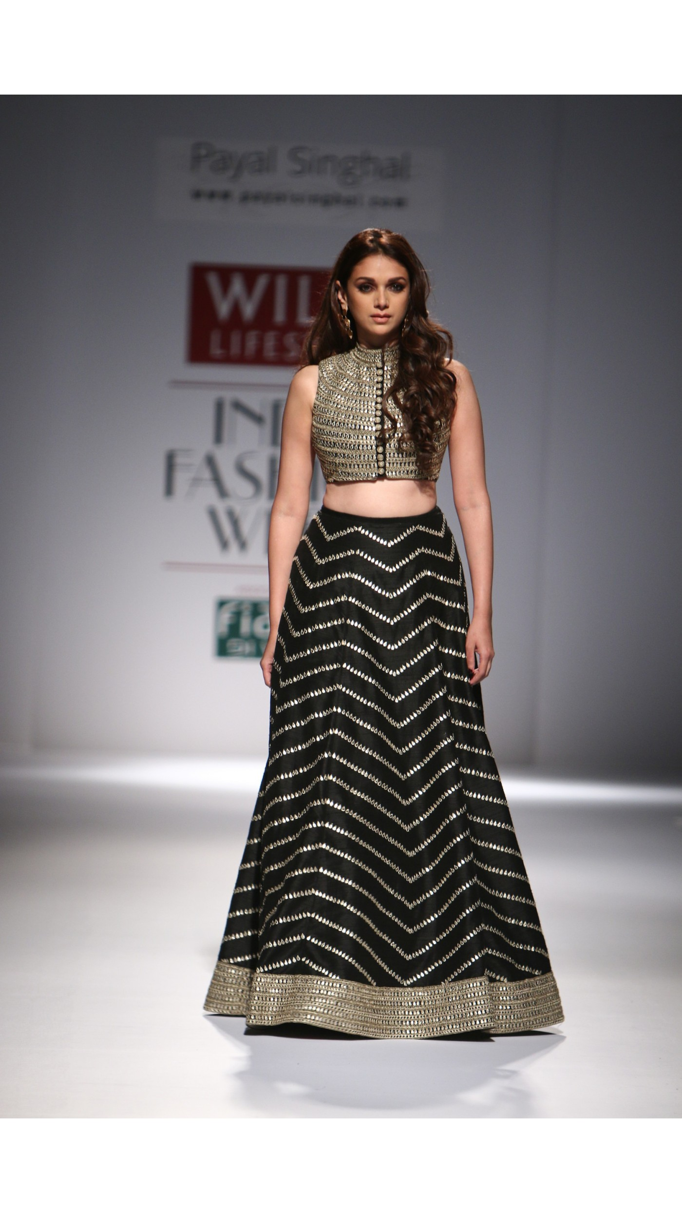Payal Singhal S Black Embroidered Lengha