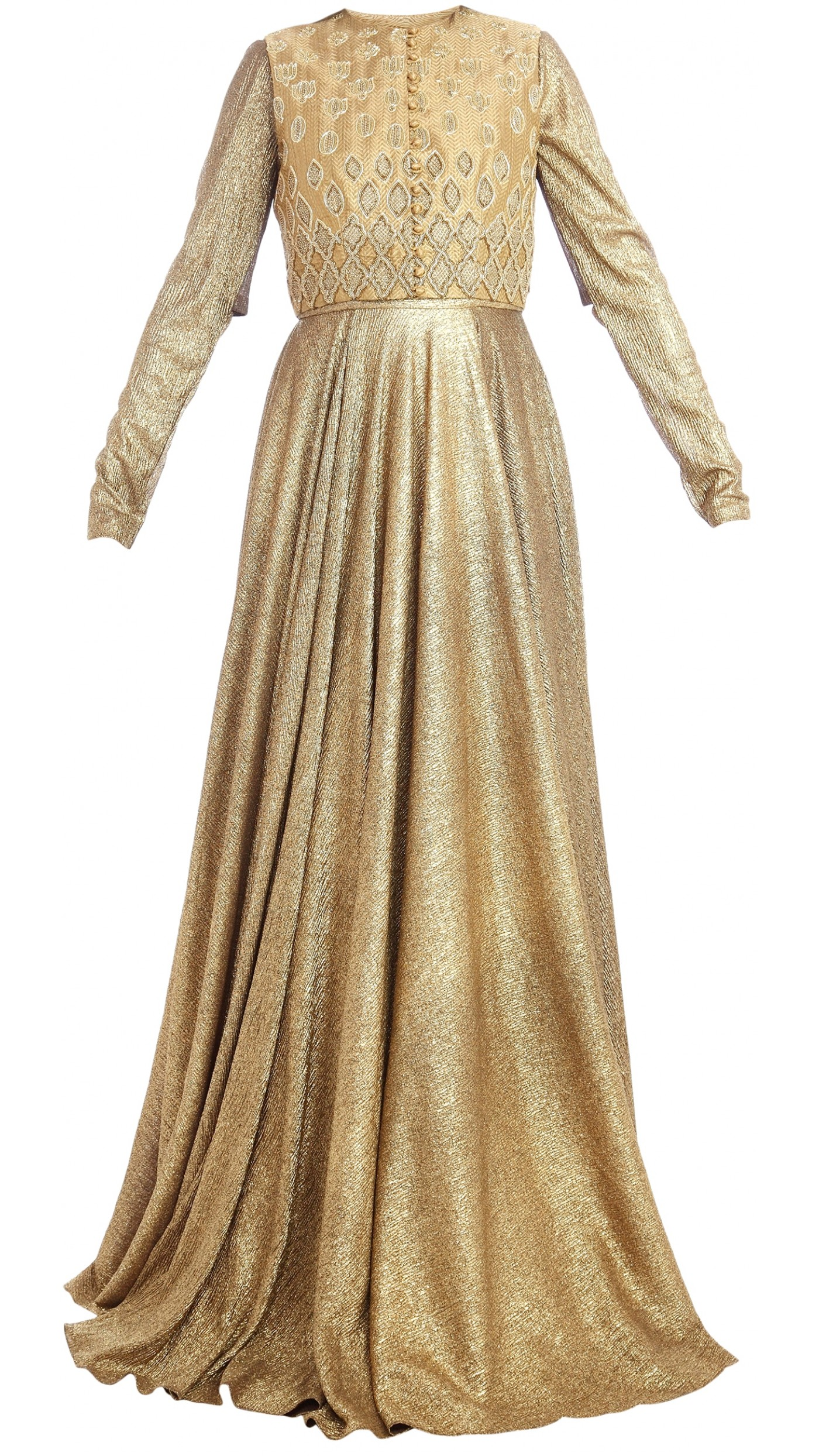 Harshita Chatterjee Deshpande\'s Golden Gown with Crop Jacket