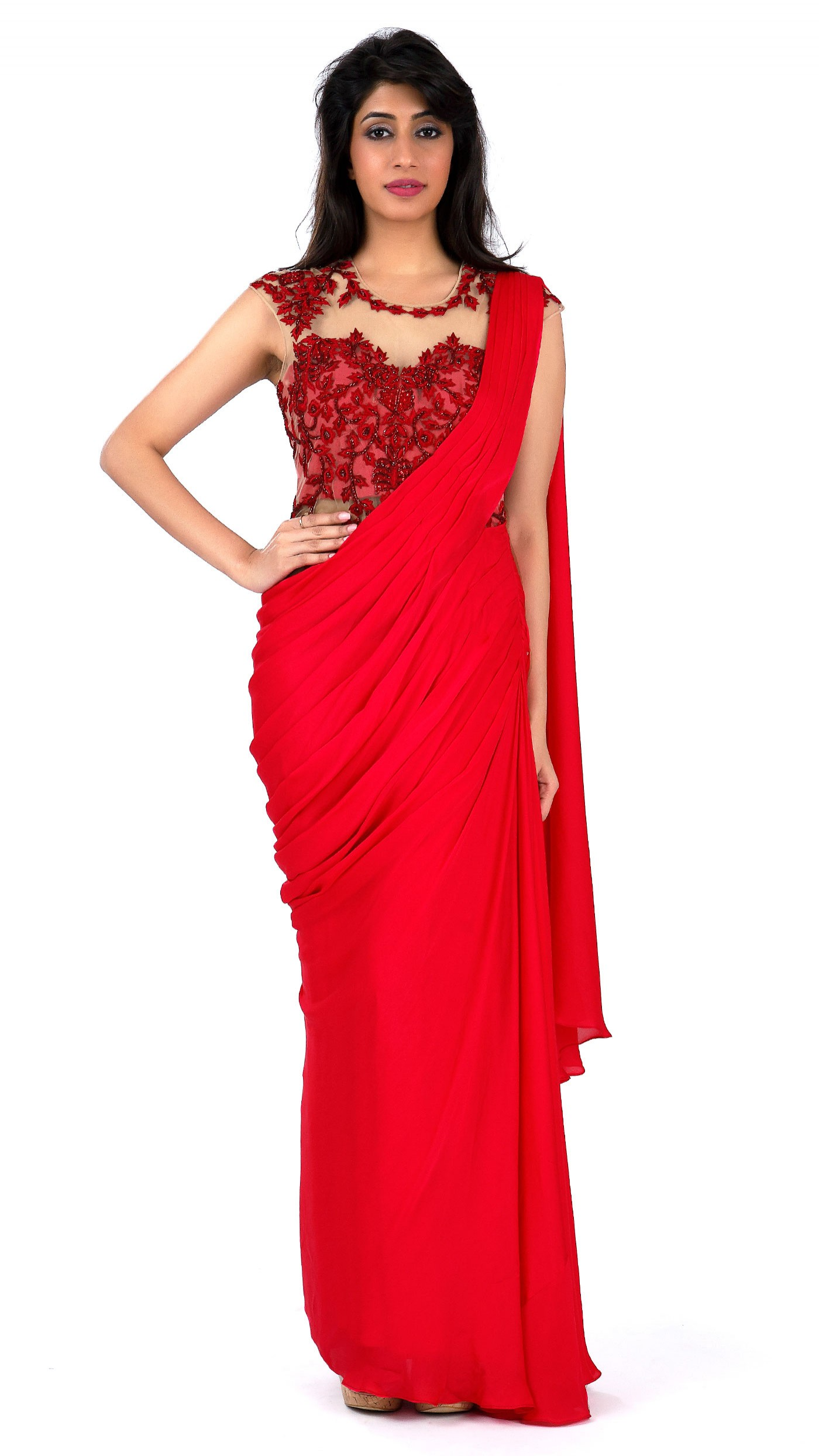 Sonaakshi Raaj\'s Red Saree Gown with Highlights