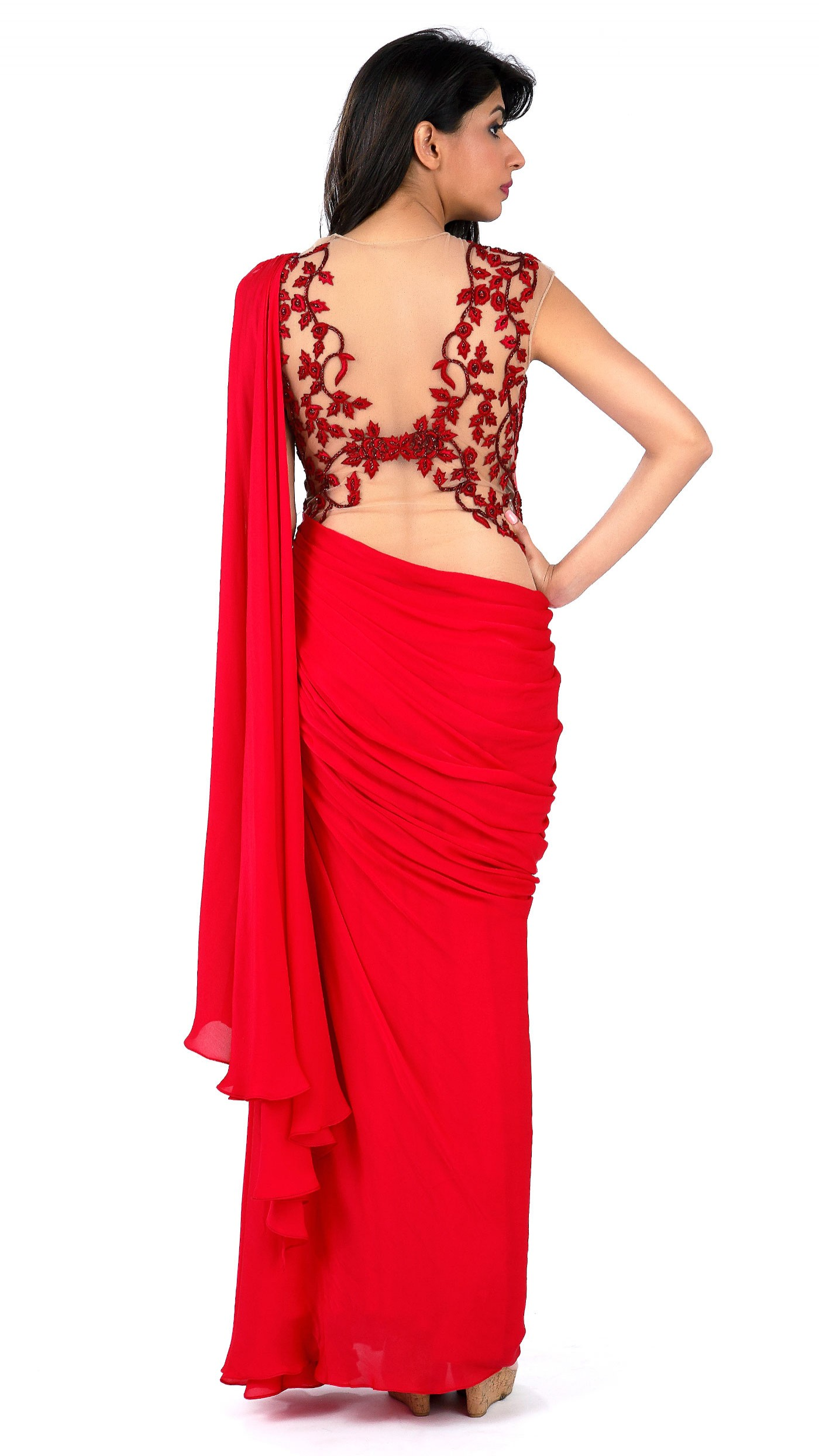 Sonaakshi raaj 39 s red saree gown with highlights for Luxury clothing