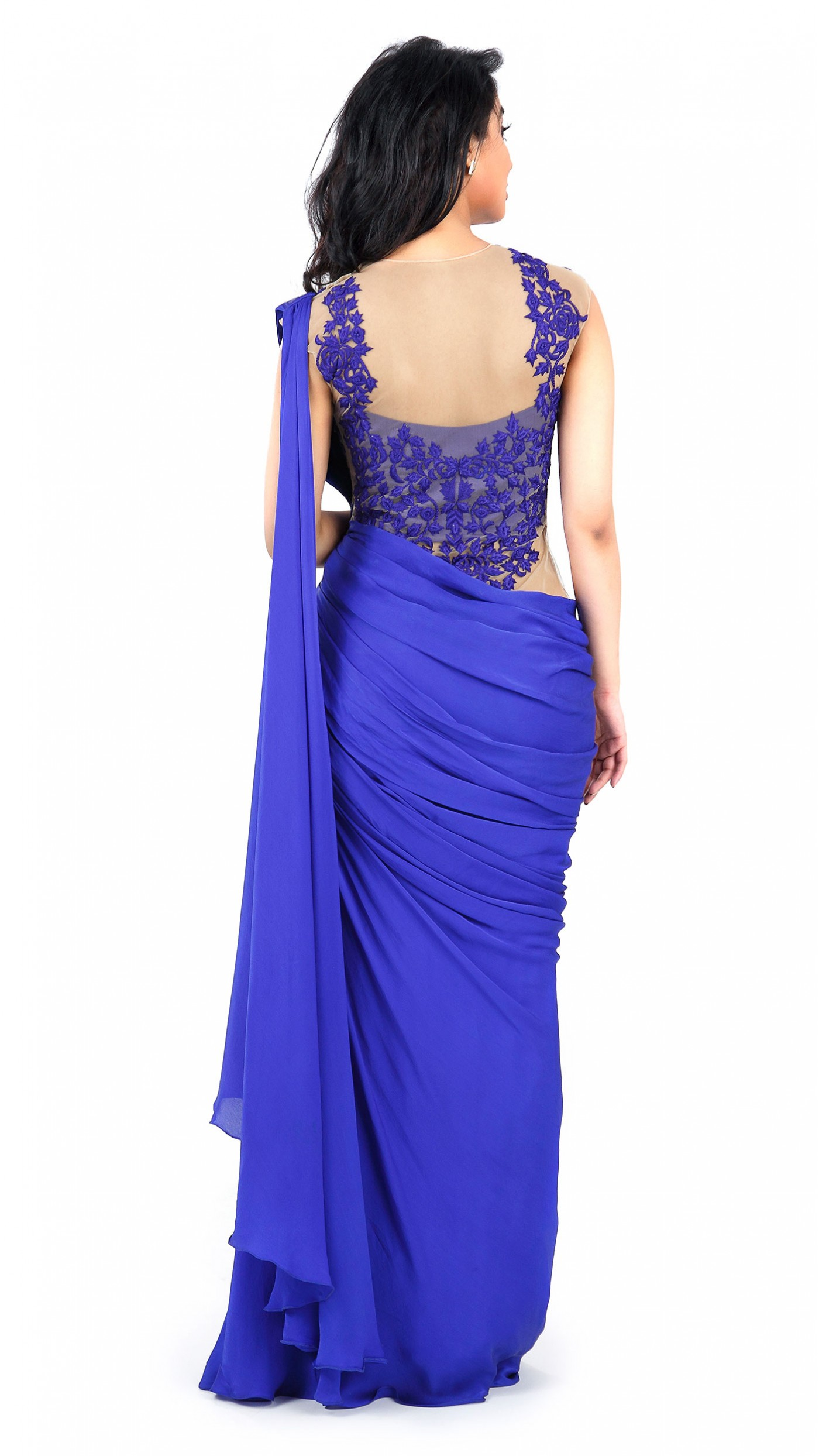 Sonaakshi Raaj S Royal Blue Saree Gown