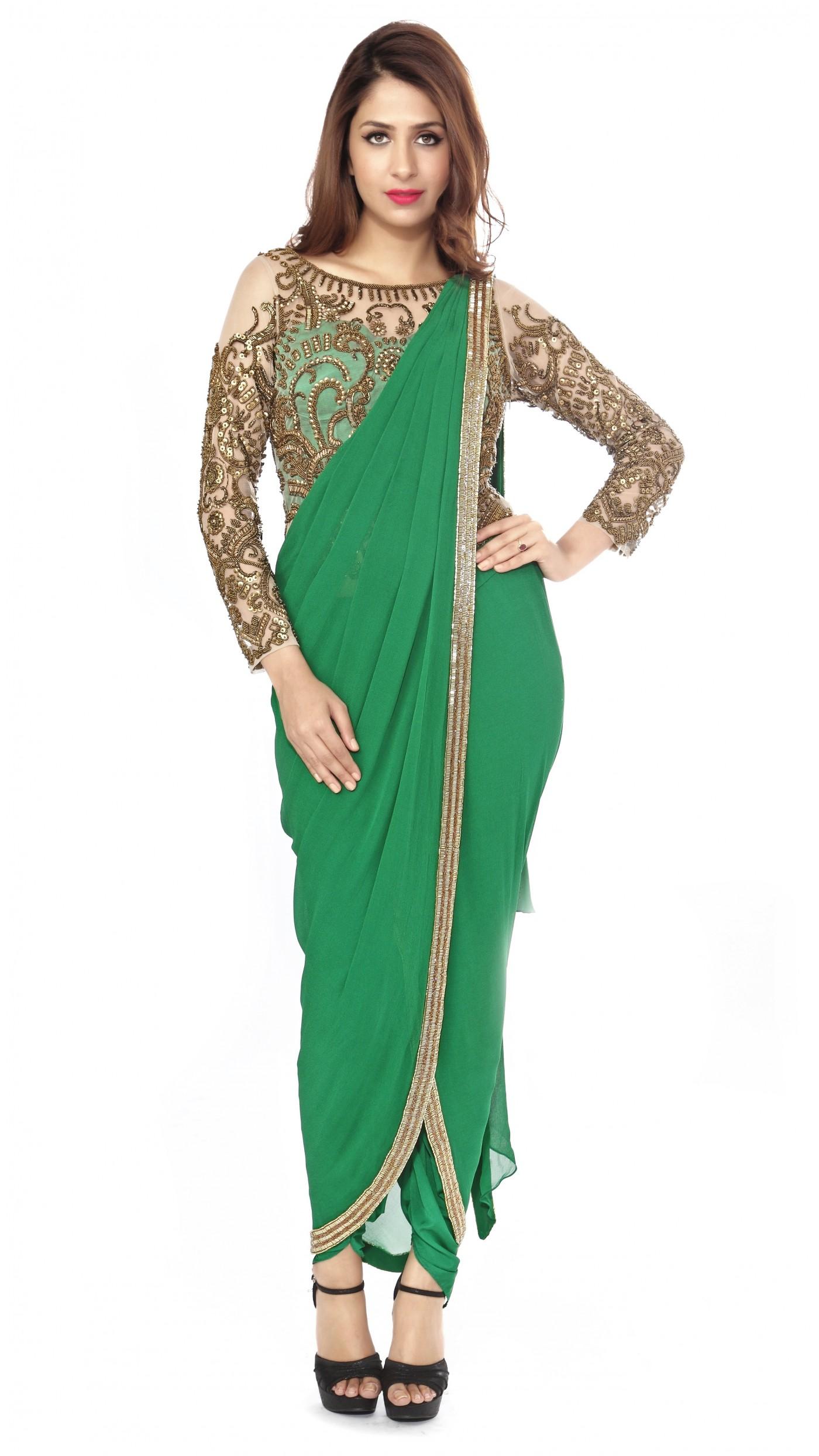 Sonaakshi Raaj 39 S Emerald Green Dhoti Saree Gown