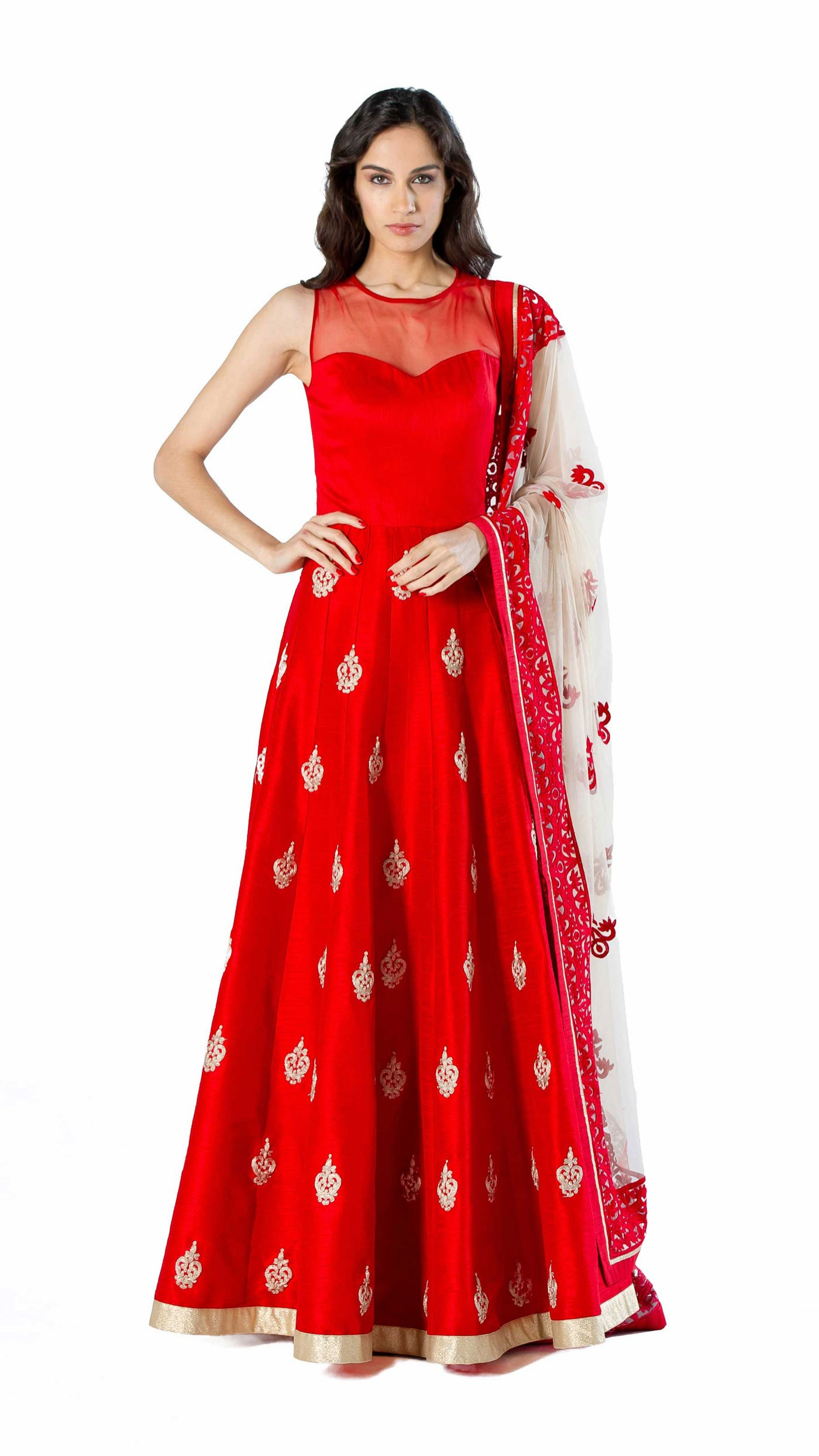 SVA by Sonam & Paras Modi\'s Red Raw Silk Gown