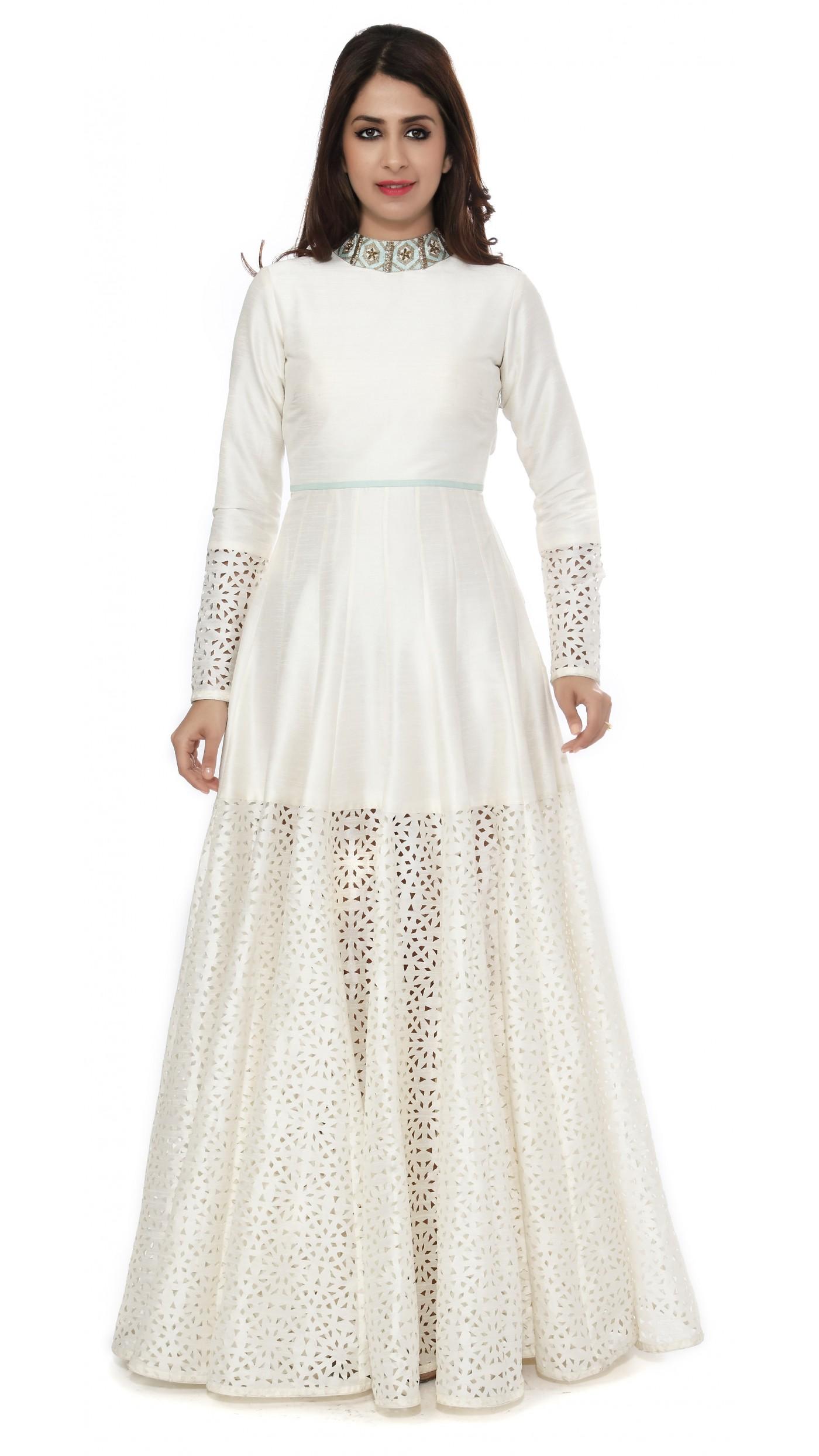 SVA by Sonam & Paras Modi\'s White Raw Silk Cutwork Gown