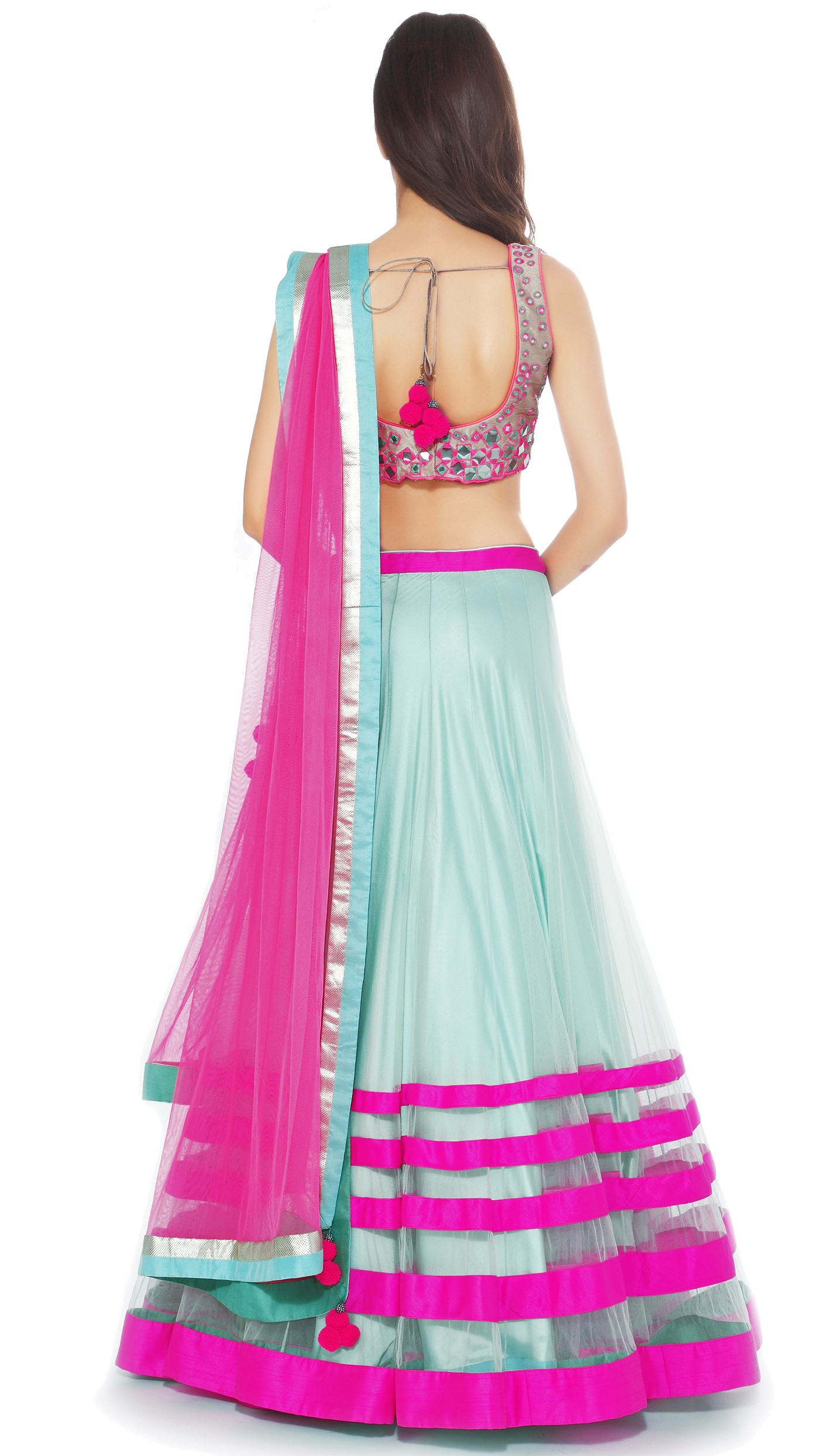 Archana Kochhar S Hot Pink Amp Light Blue Sheer Lengha Set
