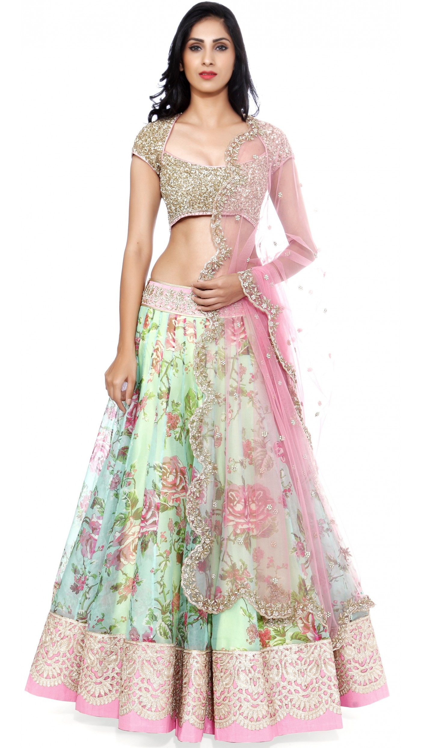 India Online Internet Use In India And The Development Of: Anushree Reddy's Blue Green Floral Lengha Set