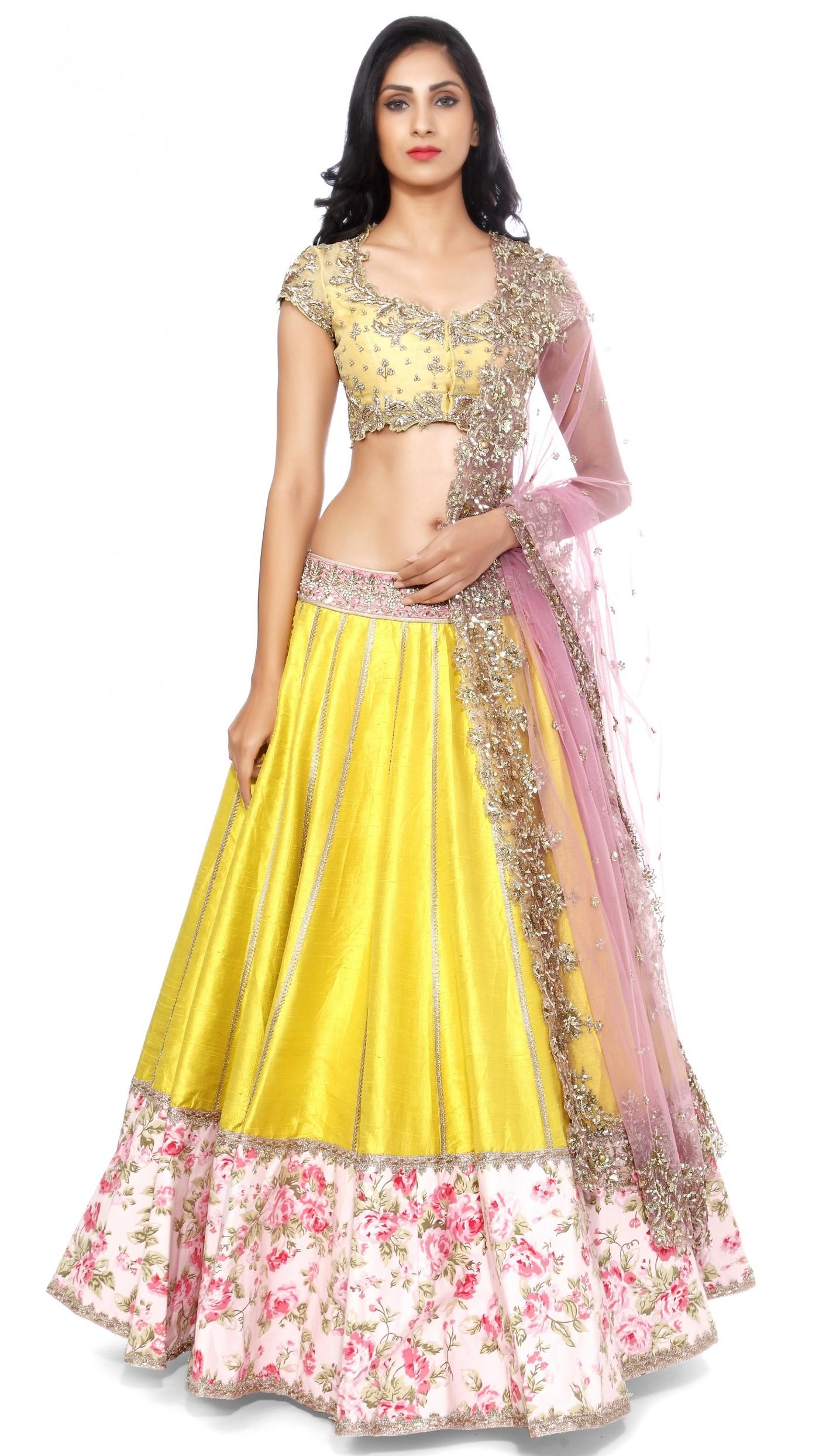 Rani Pink Colour Anushree Reddy S Yellow Raw Silk Lengha Set