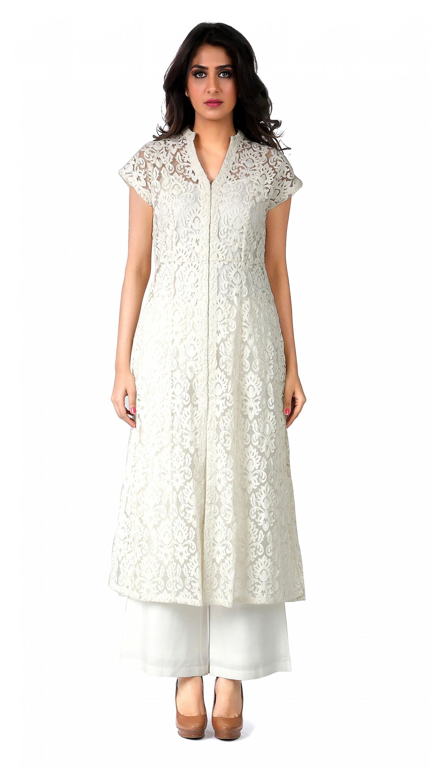 Anita dongre 39 s cream net kurta for Couture fashion designers