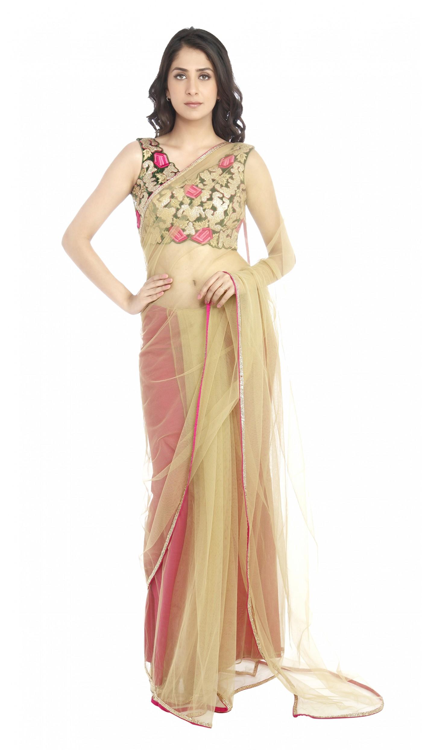 Pink Saree: Mayyur Girotra's Beige And Hot Pink Saree