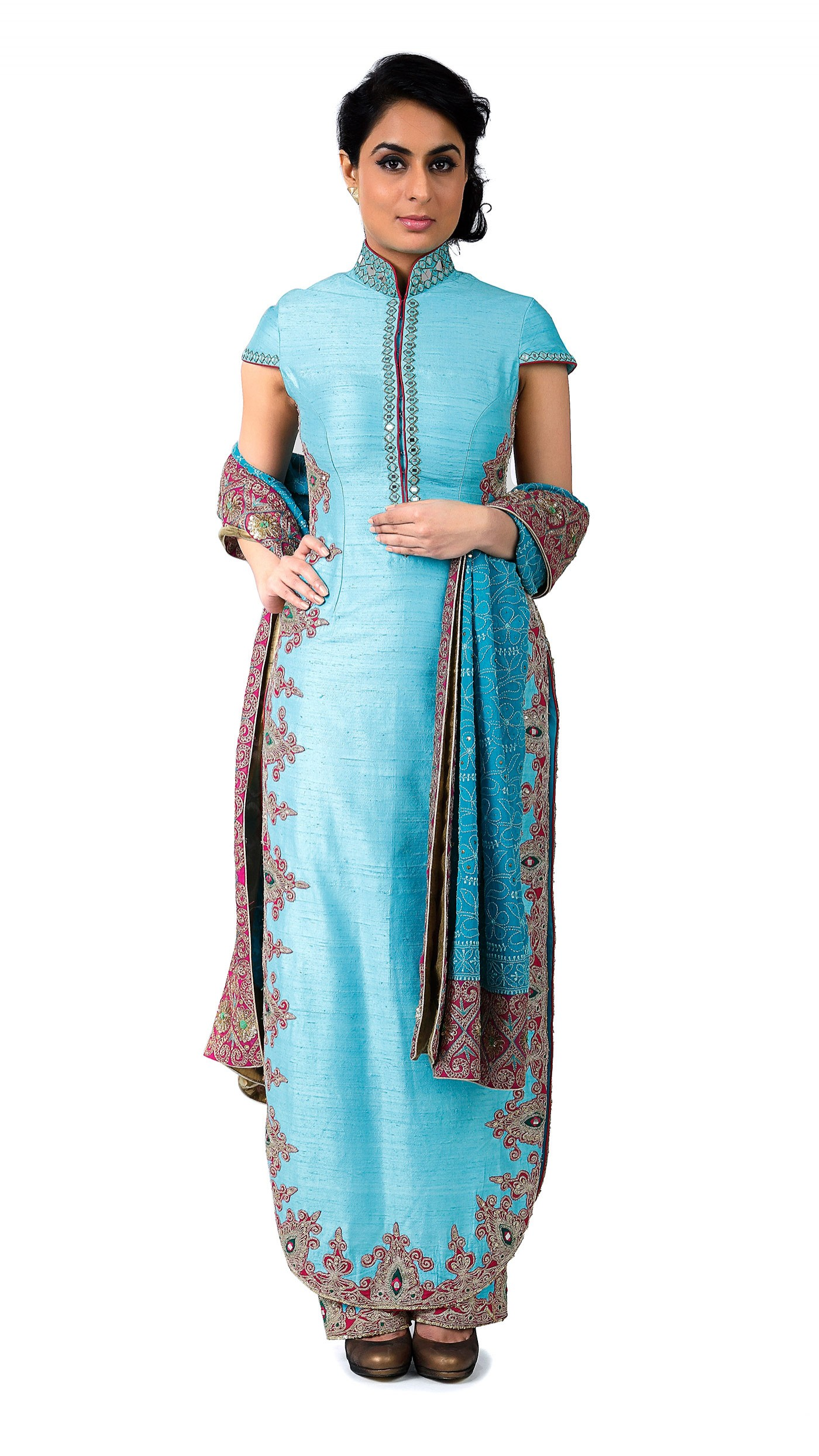U-Shaped Kurta,Silk Kurta, Designer Kurti, Embroidery Designs