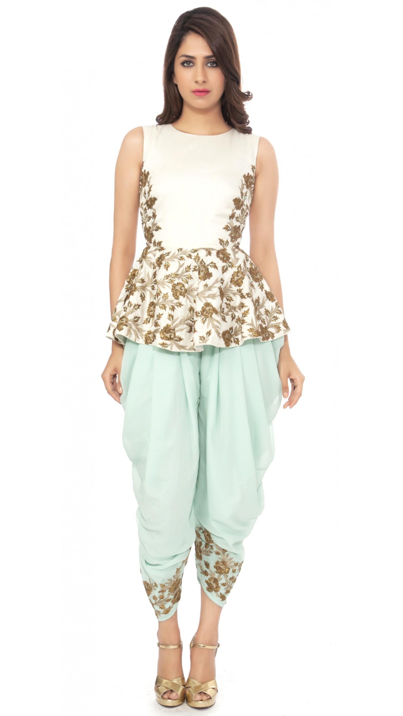 sva by sonam paras modi s white peplum top with mint