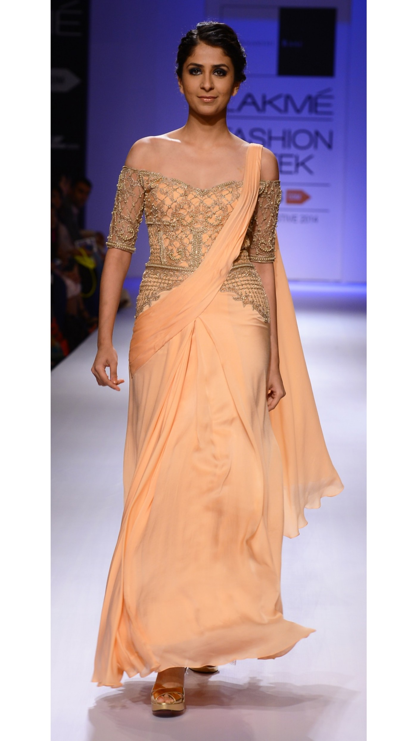 Sonaakshi Raaj\'s Coral Embroidered Sari-Gown
