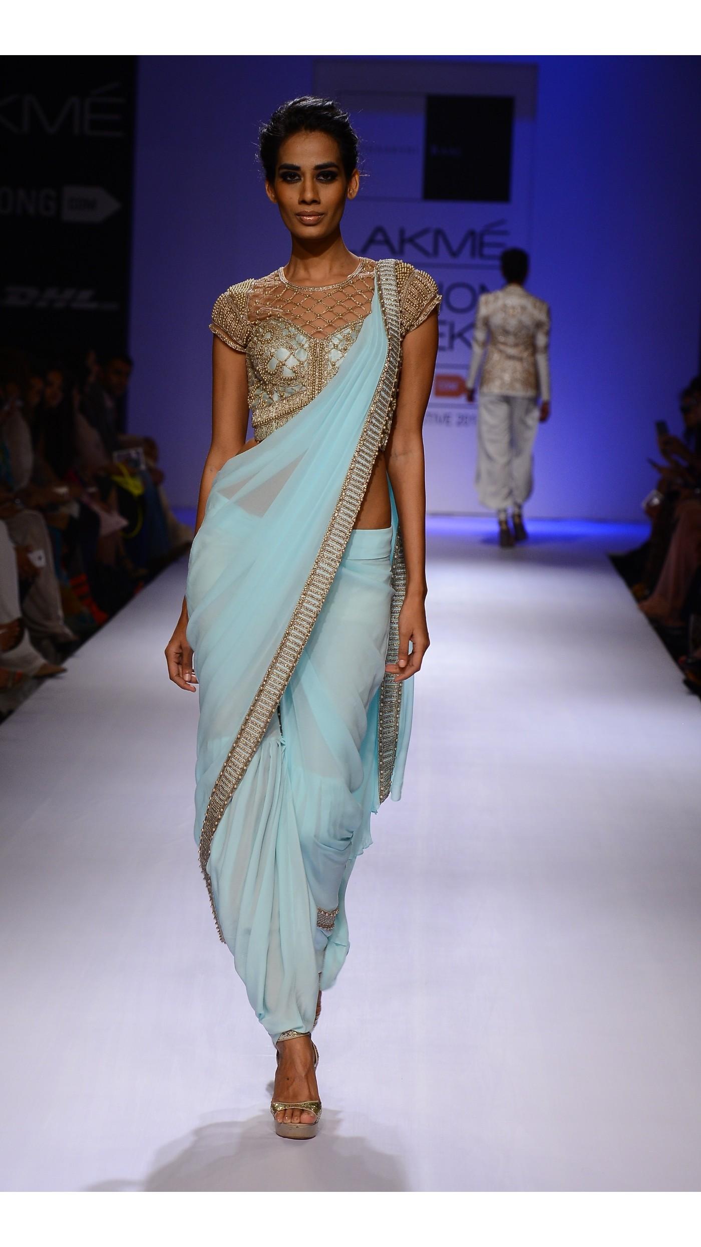 Sonaakshi Raaj\'s Blue Embroidered Pant Sari-Gown