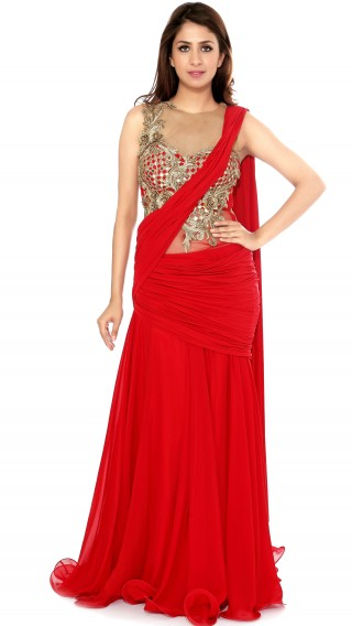 Red Saree Gown with Frills
