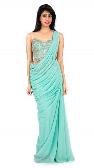 Tourquoise Lycra Net Saree Gown