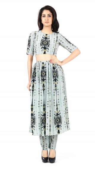 Pale Blue Sahara Print Crepe Top & Churidar Skirt