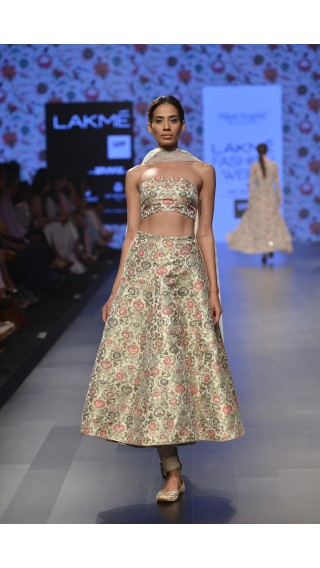 Bustier & Churidar Skirt with Dupatta