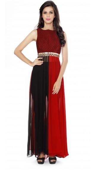 Red and Black Sheer Floor Length Anarkali
