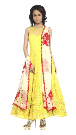 Mustard Suit with Contrast Dupatta
