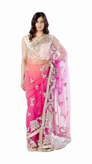 Pink Embroidered Saree