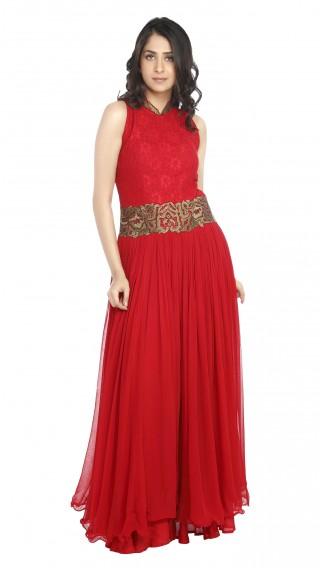 Red Jumpsuit with Embroidered Belt