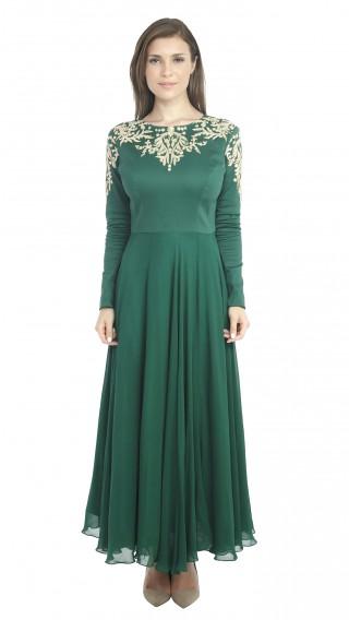 Emerald Green Embroidered Anarkali