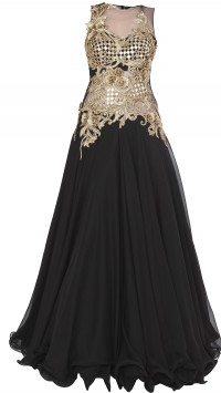 Black Flared Gown with Embellishments