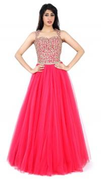 Pink gown with aari work