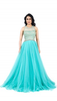 Aqua blue embroidered gown