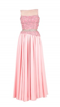Rose pink asymmetrical gown
