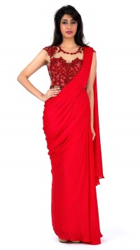 Red Saree Gown with Highlights