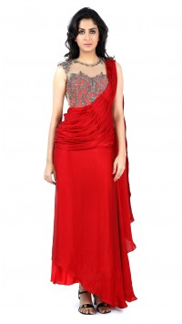 Red Gunmetal Saree Gown