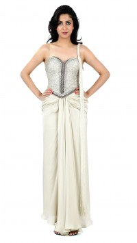 Oyster Silver Draped Saree