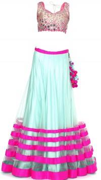 Hot Pink & Light Blue Sheer Designer lehenga