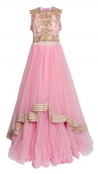 Pink Asymmetrical Designer Lehenga