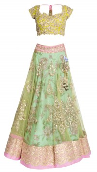 Green Floral Bridal Lehenga Choli
