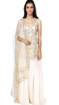 Cream Lehenga Set