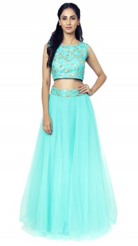 Aqua Blue Crop Top and Skirt