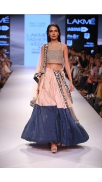 Colour Block Lehenga Set