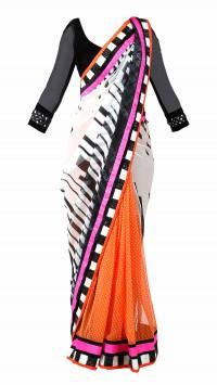 White and Orange Half & Half Saree