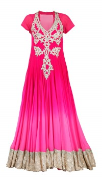 Candy Pink Shaded Floor Length Anarkali