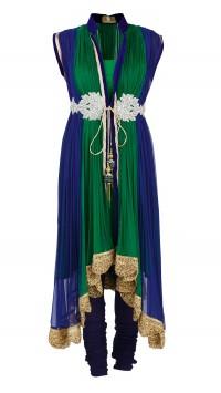 Persian Blue and Emerald Green Kurta Set
