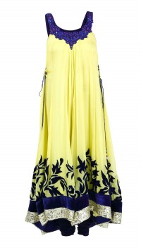 Lime Yellow and Persian Blue Anarkali Set