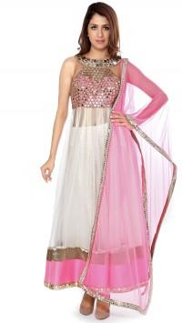 Halter Neck Pink and Ivory Mirror Anarkali