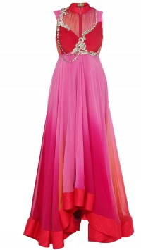 Red and Pink Shaded High Low Anarkali