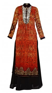 Digitally Printed Chinese Collar Suit With Pallazzos