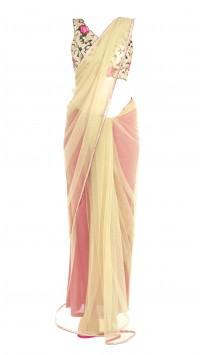 Beige and Hot Pink Saree