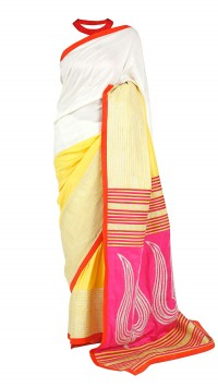 Beige & Yellow Trishul Saree