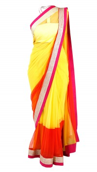 Yellow & Orange Saree